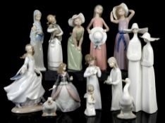Quantity of Lladro and others to include nuns, girl with goat, 2 girls with hats and various