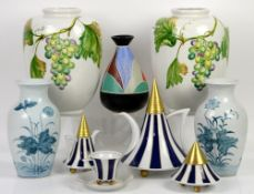 Thun studio Czech blue stripe tea service, two vases with fruiting grapevine decoration, three other
