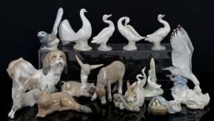 Quantity of Lladro animal figurines, to include donkeys, a fox, dove, Pekinese dog, ducks and a