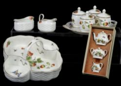 Coalport 'Strawberries' strawberries and cream basket dish, a tray with a set of cups and covers,