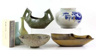 An interesting collection of Japanese Ceramics, including: Three sakazuki; a yunomi; a pair of