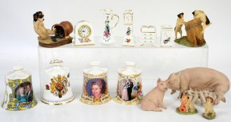 Aynsley porcelain piglet, pig and sow, a quantity of Aynsley miniatures in boxes and four Aynsley