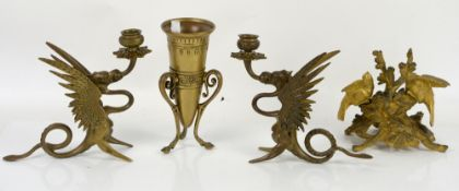 Gilt bronze candle holder modelled as two birds amongst branches, signed indistinctly under the