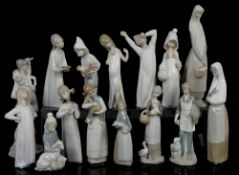 Quantity of Lladro figurines; figure holding lamb, figure holding goat, girl with chicken,