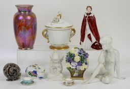 Two Kaiser parian figurines, quantity of Wedgwood year plates, Royal Worcester Queens 80th figurine,