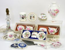 Coalport card holders (boxed), 3 Coalport boxed sets of sugar bowl and cream jug, 2 stratton