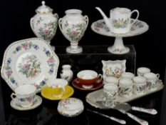Quantity of Aynsley Pembroke coffee cans, teacups, cake stand and knives etc.