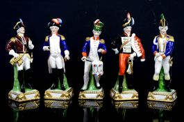 Capodimonte Military figurines including Hornist, LaFayette and Husar (5 in lot)