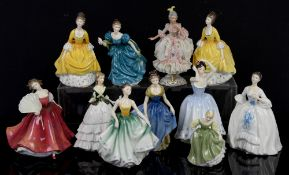 Nine Royal Doulton ladies, one Royal Worcester and a Dresden porcelain net skirt lady, no boxes (