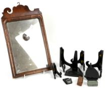 Late 18th / early 19th century mahogany fret frame mirror and a small quantity of stands