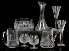 John Rocha Waterford two glasses and a carafe, cut glass bowl, jugs and brandy glasses