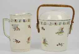 Morley Fox nursery rhyme jug and pail with liner and rattan handle