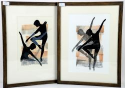 Dorin Elvin, Dancer and Dancer II, woodcuts, signed and marked 'Unique' in pencil, 35cm x 23cm