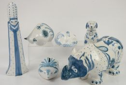 Six Rye pottery figures, including a Rhinoceros, (6),