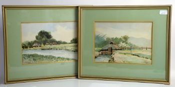 Two Japanese watercolours depicting rural cottages, both signed K. Shimizu, 22 x 30cm (2)