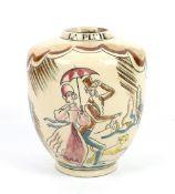 Robert Lallemant (French, 1902-1954), Art Deco 'La Pluie' vase, circa 1930, painted decoration of