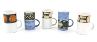 Troika pottery collection of five mugs, marked to bases, largest 12cm high (5)