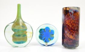 AMENDED DESCRIPTION Mdina glass, a mottle brown tall cylinder vase, h19cm, another vase with yellow
