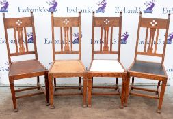 Four Arts and Crafts dining chairs, circa 1910, with pierced splat backs, H105cm