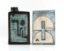 Troika pottery slab vase, marked 'Troika Cornwall England' to base and with artist's monogram,