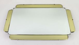 Art Deco wall hanging mirror in clear mirror glass bordered by yellow tinted panels, 65 x 40cm
