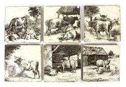 William Wise (1847-1889) for Minton China Works, set of six tiles depicting cattle,