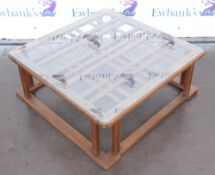 Japanese wooden coffee table with glass top, h32 x w82 x d82cm