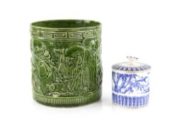 E J D Bodley Aesthetic Movement pot and cover with Japanesque blue and white transfer printed