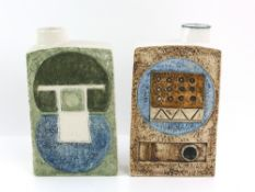 Troika pottery two chimney slab vases, one with 'Troika Cornwall England' to base and artist's