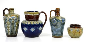 Royal Doulton stoneware jug or flask, possibly by E Violet Hayward, decorated with blue flowers on