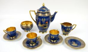 Carlton Ware pagoda pattern on blue ground, coffee pot, h20cm, cream jug, sugar bowl,