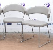 Pedrali, four chairs in beige grey leather on metal frames, h74cm