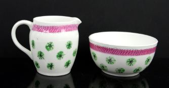 Graham Sutherland for Foley 'Green Stars', cream jug h6.5cm and sugar bowl 8cm diam,