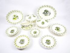 Eric Ravilious (1903-1942) for Wedgwood 'Garden' pattern dinnerwares in sepia with yellow enamel on
