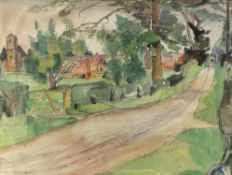 Sumner, 20th century, view along a country lane, signed, watercolour, 45.5cm x 60cm