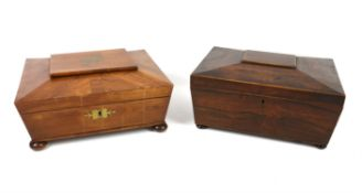 19th century rosewood sewing box of sarcophagus form, opening to reveal a lift out tray,