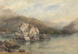 Watercolour of rocks in a bay, unsigned, 24 x 34cm