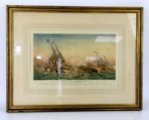 Harold Wyllie (British, 1880-1973), 'Battle of Quiberon Bay', colour print, signed in pencil lower