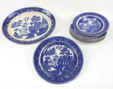 Wedgwood blue and white fence pattern bowls, plate and serving platter