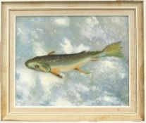 Mixed collection of pictures, to include an oil on board of a trout, signed T.R.OUT and dated '64
