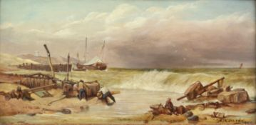 A. W. Darby, Figures on a beach, oil on board, signed and dated 1900 lower right, 19 x 40cm,