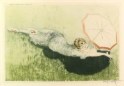 § Louis Icart (French 1880-1950) Parasol, signed drypoint etching, embossed blindstamp,