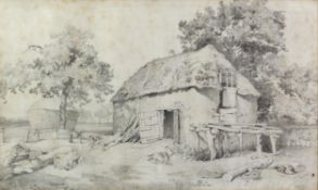 F G Cotman, British 1850-1920, farmyard scene with barn, pigs and trees, signed, pencil on paper,