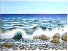 Sandra Francis (Contemporary British), 'White Waves Across The Sea', acrylic on canvas,