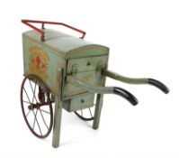 Swallow Bakery grey and red line painted hand cart, with metal wheels, the interior with loaves and