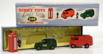 Dinky Toys Gift Set 299 Post Office Services, comprising two vehicles, phone box and two figures,