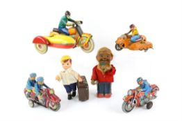 Collection of mostly Chinese tinplate clockwork and friction toys, including motorcycles and