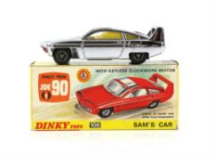 Dinky Toys - No. 108, Sam's Car from Joe 90, silver finish die cast model with lapel badge attached