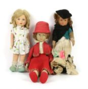 Lenci pressed felt girl doll with red hat, coat and shoes, marked to base of foot, 43cm high,