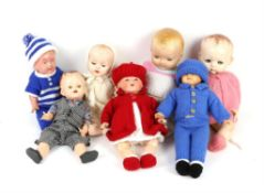 Armand Marseille 351/ 3 1/4 K, baby doll and nine other dolls, (10),
